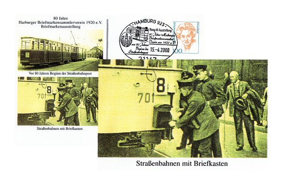 "A souvenir of the stamp exhibition 2000 from the ""Harburg Briefmarkensammler Verein von 1920 e.V."""