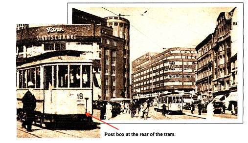 "The postcard shows the tram line 18 in the square ""Gänsemarkt""."