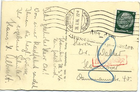 Postcard posted to Hanover on 23. March 1936