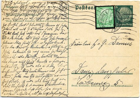 Postcard posted to Gdansk (national mail) on 23. May 1935