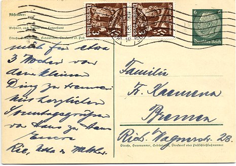 Postcard posted to Bremen on 16. November 1935