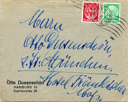 "Inter-City-Letter (""Fernbrief"") posted to Munich on 5. March 1935"