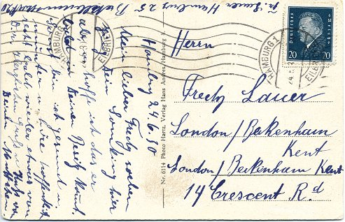 "Foreign-Postcard (""Auslandspostkarte"") posted to London on 24. June 1930"