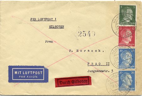 "Foreign express letter (""Eilbrief - Auslandsbrief"") posted to Prague in Bohemia and Movaria on 28. May 1942"