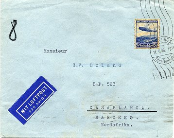 "Foreign letter (""Auslandsbrief"") posted to Casablanca / Morocco on 11. June 1936"